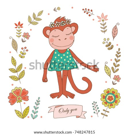 cute monkey with vintage frame for your design in doodle style cartoon illustration for wedding - Monkey Picture Frame