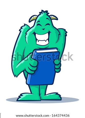 Cute monster creature holding a book - stock photo