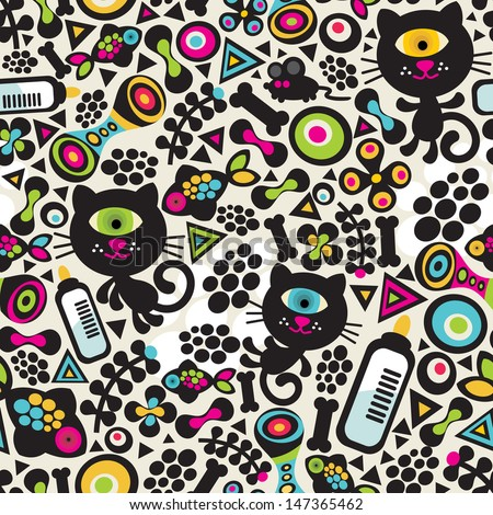 Cute monsters cats seamless pattern.  - stock photo