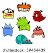 Cute monsters #5 (raster version) - stock photo