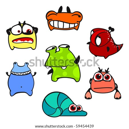 Cute monsters #5 (raster version) - stock photo
