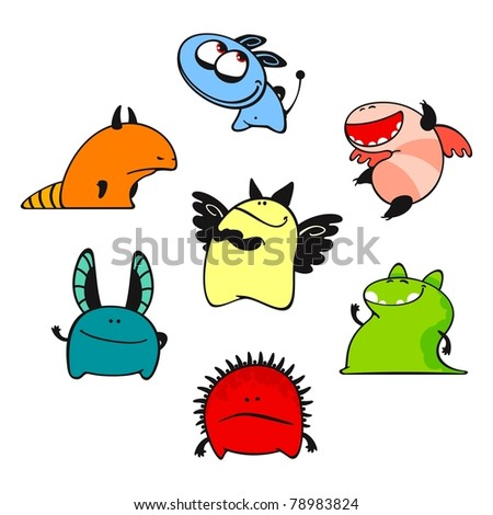Cute monsters #9 (raster version) - stock photo