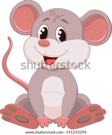 Cute mouse cartoon - stock photo