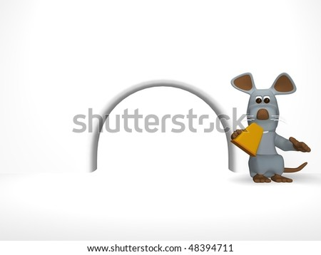 cute mouse with cheese in the den - stock photo