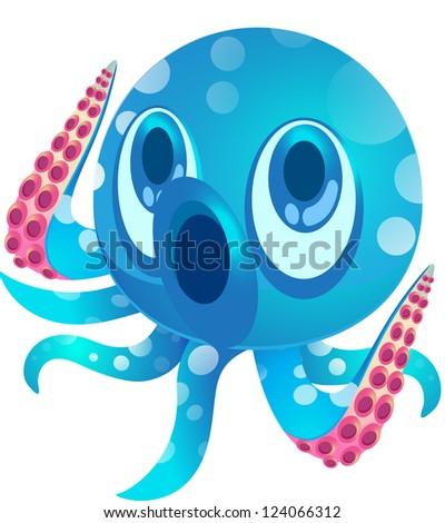 Cute octopus - stock photo