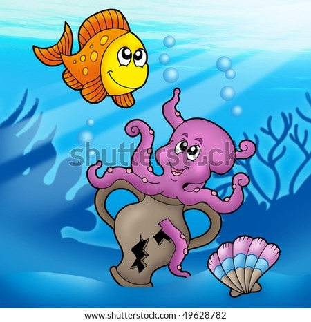 Cute octopus and orange fish - color illustration.