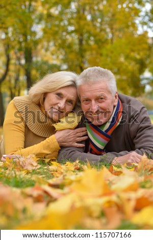 cute older couple lying in autumn park - stock photo