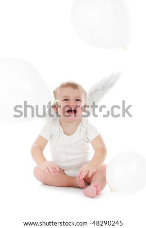 stock photo elegant angels with little baby