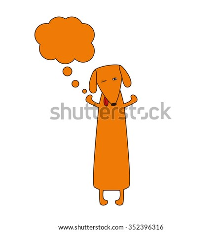 Cute orange colored brown contoured dachshund standing on hind legs with dissolved forelegs and empty dream bubble near it. Vector flat style illustration - stock photo