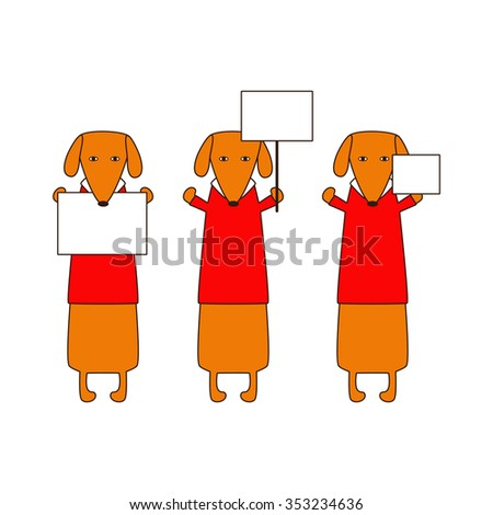 Cute orange colored brown contoured dachshunds in red sweaters with white collar standing on hind legs with dissolved forelegs, holding blank nameplates in paws. Flat style illustration - stock photo