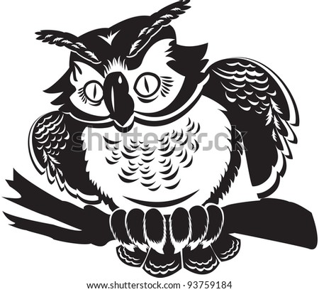 cute owl on branch. black and white image. Raster version