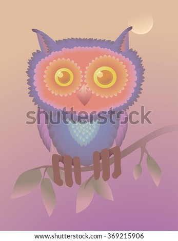 cute owl on the branch postcard. cartoon character greeting card (raster version). - stock photo