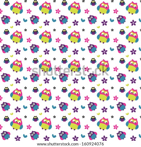 Cute Owl Pattern  - stock photo