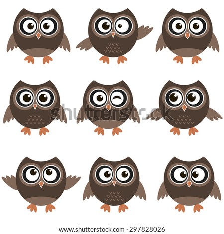 Cute owls with various emotions. Raster version - stock photo