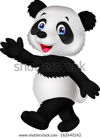 Cute panda cartoon waving hand
