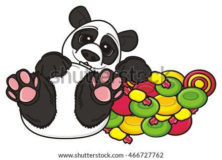 cute  panda lying next to the slide of candy