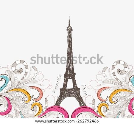 Cute Paris doodle - stock photo
