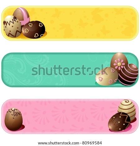 Cute pastel colored easter banners (jpg); vector version also available - stock photo