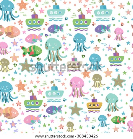Cute pattern with ships, fishes and jellyfishes. - stock photo