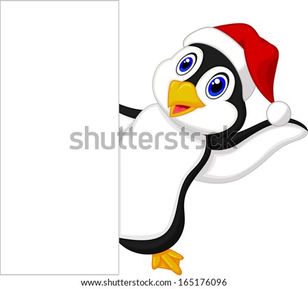 Cute penguin cartoon with red hat waving - stock photo