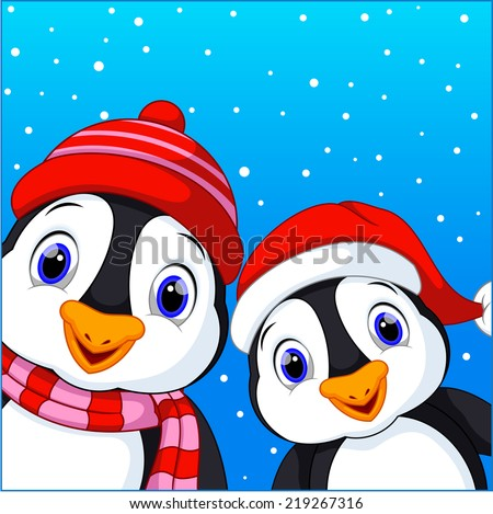 Cute penguins on winter background  - stock photo