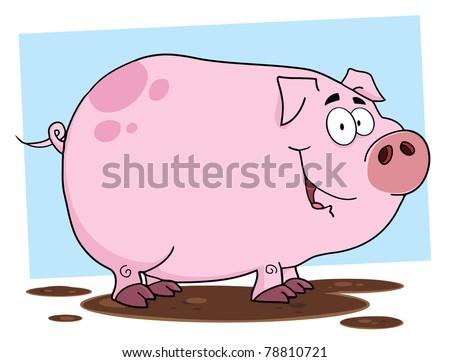 Cute Pig Cartoon Character - stock photo