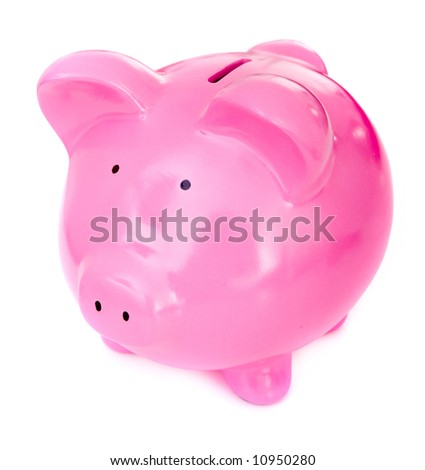 cute piggy bank isolated over a white background