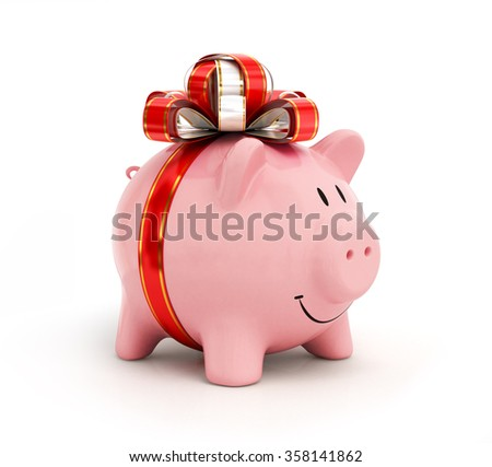 Cute piggy bank with  bow and ribbon - stock photo