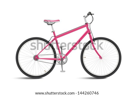 Cute Pink Bicycle isolated on white background. See also vector version - stock photo