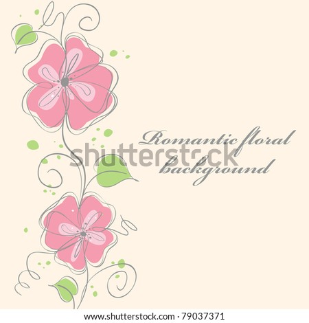 Cute pink  floral card background  illustration