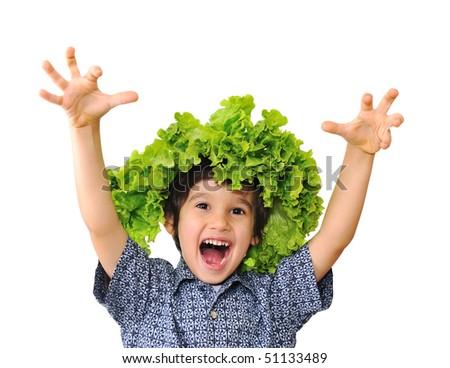 Cute positive kid - stock photo