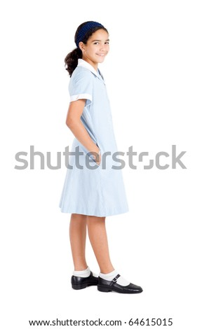 cute preteen school school girl isolated on white - stock photo