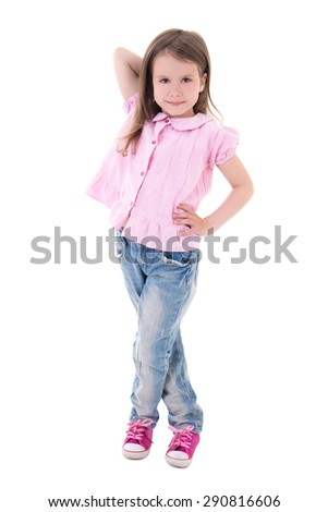 cute pretty little girl posing isolated on white background - stock photo