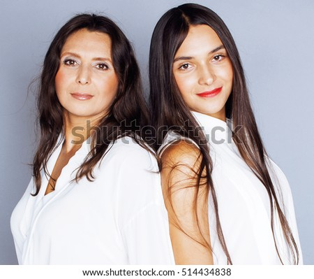 cute pretty teen daughter mature mother stock photo (royalty free