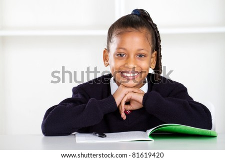 cute primary schoolgirl - stock photo