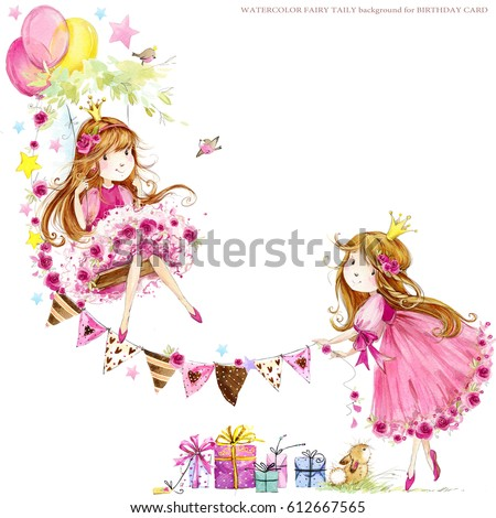 Cute Princess Birthday Background Greeting Card Stock Illustration