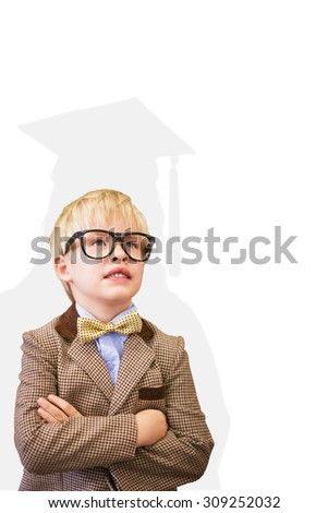 Cute pupil dressed up as teacher against silhouette of graduate - stock photo