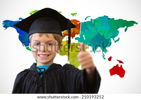 Cute pupil in graduation robe against white background with world map - stock photo