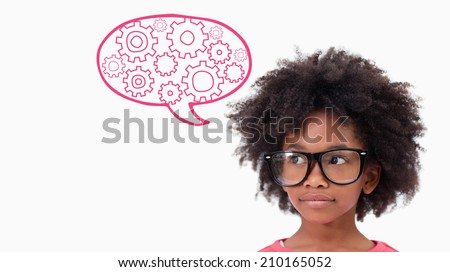 Cute pupil wearing glasses against cogs and wheels graphic - stock photo