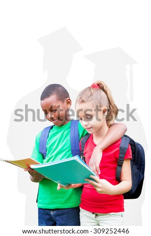 Cute pupils reading against silhouette of graduate - stock photo