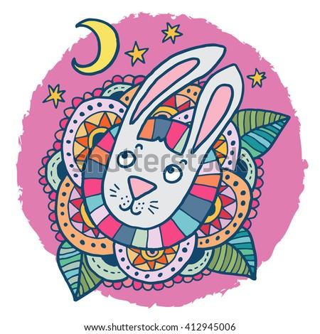Cute rabbit - baby shower or easter drawing. Lovely raster illustration. - stock photo