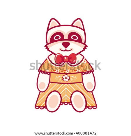 Cute Raccoon. Raster illustration on white background.