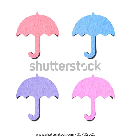 cute recycled paper art craft on white background. - stock photo
