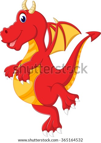 Cute red dragon flying - stock photo