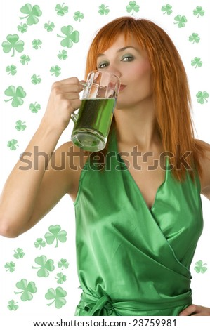 cute red head girl drinking green beer in saint patrick days