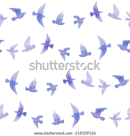 Cute repeat pattern with naive watercolor birds - stock photo