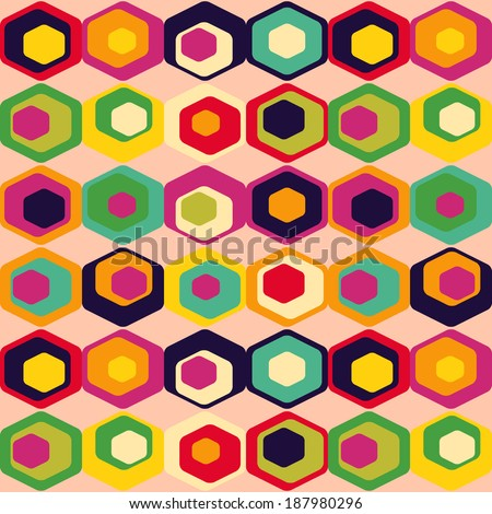 Cute retro pattern of hexagons.  background can be used for wallpaper, pattern fills, web page background, surface textures. - stock photo