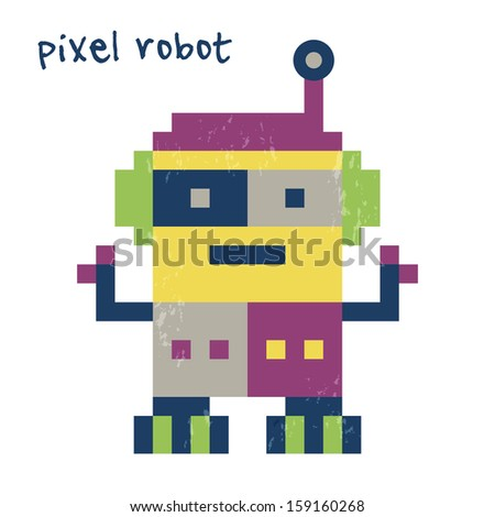 Cute retro pixel robot bright colors stock illustration 159160268 cute retro pixel robot in bright colors great for birthday cards party invitations filmwisefo Gallery