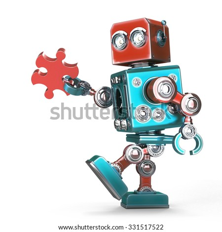 Cute retro robot connecting puzzle piece. Isolated over white. Contains clipping path - stock photo