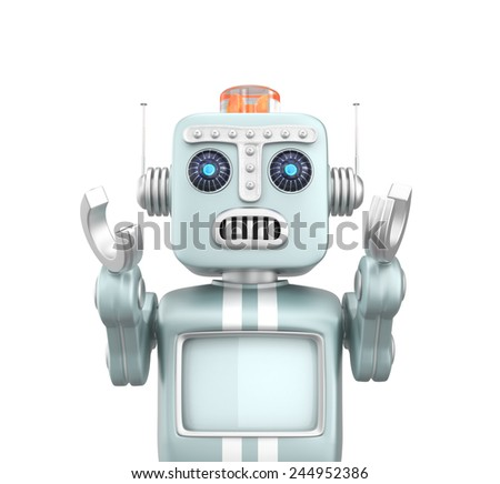 Cute retro robot raise his hand with surprise emotion. Clipping path available. - stock photo